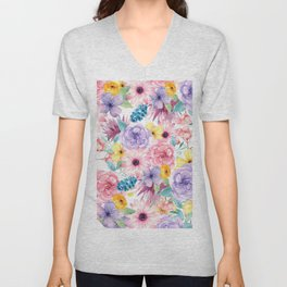 Modern elegant pink lavender yellow watercolor floral Unisex V-Neck