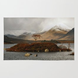 Lone Tree and Dusting of Snow in Mountains of Scotland Rug