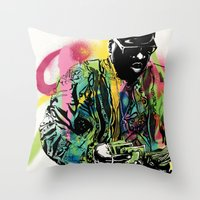 biggie smalls Throw Pillows featuring Biggie Smalls Spray Paint Illustration by ConorMcClure