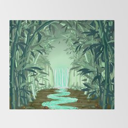 Fluorescent Waterfall on Surreal Bamboo Forest Throw Blanket