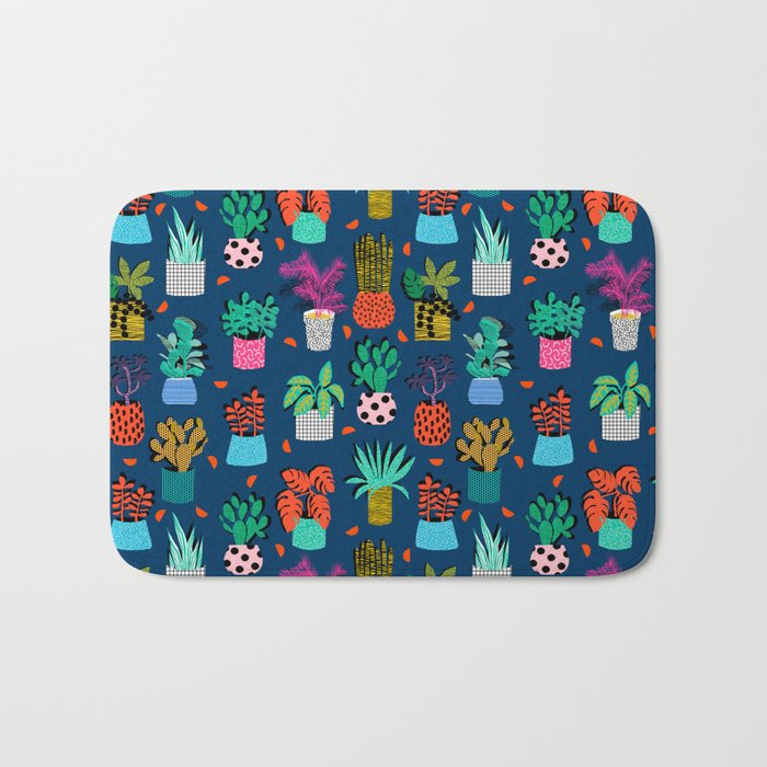 Check It - house plants indoor monstera neon bright modern pattern retro throwback memphis style Bath Mat