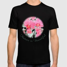 Lovely pink orchid flower color pencil sketch. floral photo art. Mens Fitted Tee Black MEDIUM