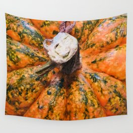 Green and Orange Pumpkin Close-Up Wall Tapestry