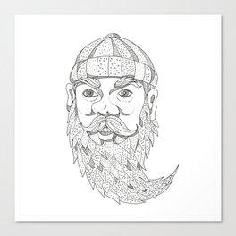 Paul Bunyan Lumberjack Doodle Art Canvas Print