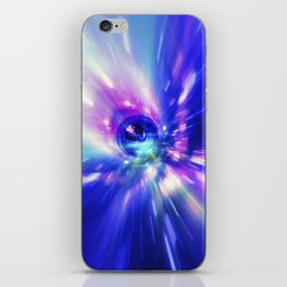 Interstellar, time travel and hyper jump in space. Flying through wormhole tunnel or abstract energy iPhone Skin