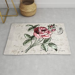 Shabby chic vintage rose and calligraphy Rug