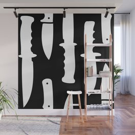 Survival Knives Pattern - White on Black Wall Mural