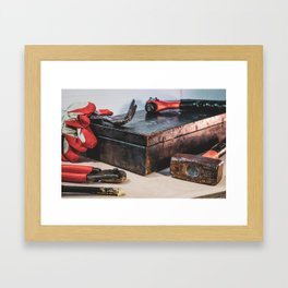 Old chest with tools Framed Art Print