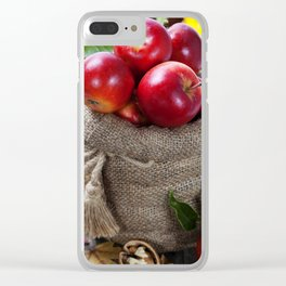 Burlap sack with apples on a wooden table Clear iPhone Case