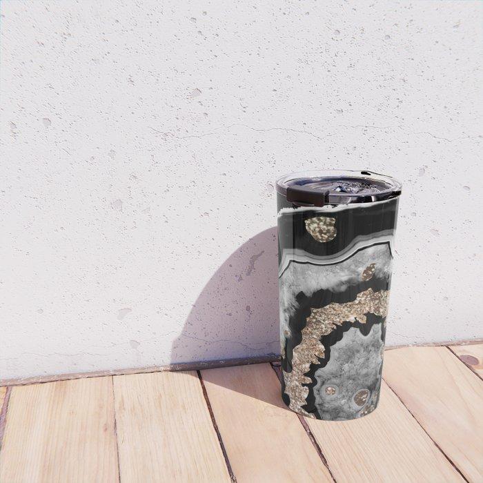 Gray Black White Agate with Gold Glitter on Black #1 #gem #decor #art #society6 Travel Mug