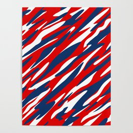 Red, White and Blue Patriotic Pattern Poster