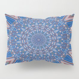 Blue Red and White Kaleidoscope Pattern Pillow Sham