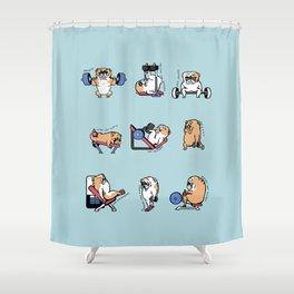 Leg Day with English Bulldog Shower Curtain