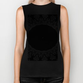 Feathers and Circles Kaleidoscope In Black and White Biker Tank