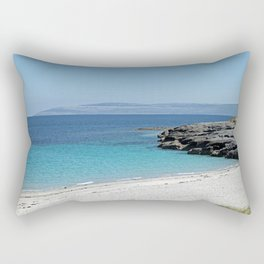 White sandy beach at the Aran Islands Rectangular Pillow