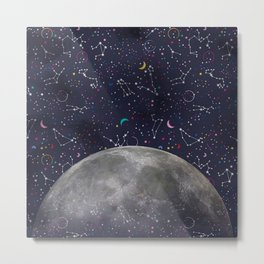 Colorful Mystic Galaxy Constellation Moon Stars and Cosmic Space Metal Print
