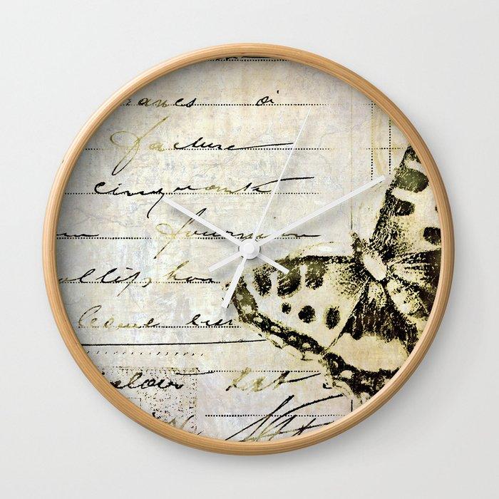 golden butterfly postale Wall Clock