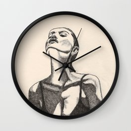 Girl In the Sun Pen Drawing by Monika Wall Clock