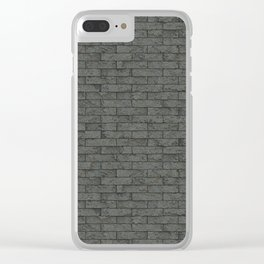 Grey Stone Bricks Wall Texture Clear iPhone Case