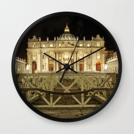 Vatican City at Night, Rome, Italy  Wall Clock