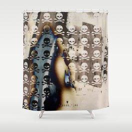 Overhead Skull and XBones: Shadow Burn Shower Curtain