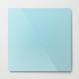Pale Sky Blue Horizontal Pin Stripe Metal Print