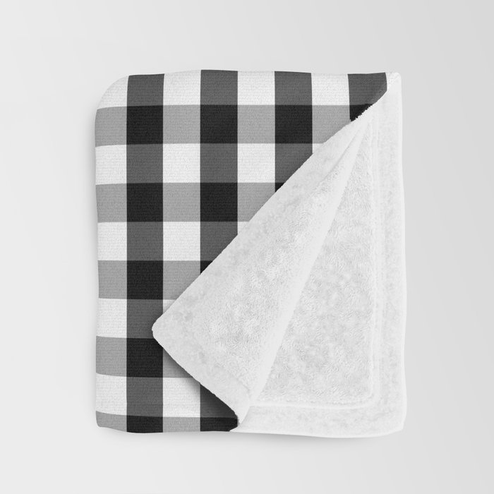 Classic Black & White Gingham Check Pattern Throw Blanket