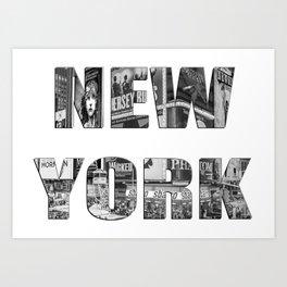 New York  B&W typography Art Print