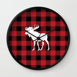 Red Buffalo Plaid Moose Wall Clock