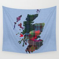 scotland Wall Tapestries featuring Scotland Counties Fabric Map Art by Mappliqué
