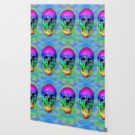 Skull disco rainbow Wallpaper
