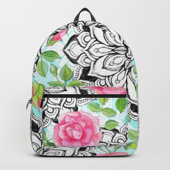 Pink Roses and Mandalas on Sky Blue Lace Backpack