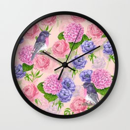 Robin and flowers, watercolor pattern Wall Clock