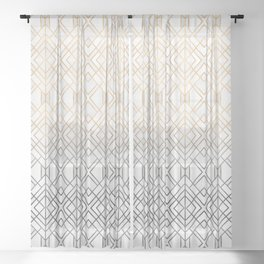 Gold And Grey Geo Sheer Curtain