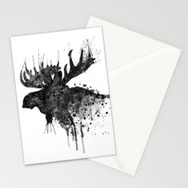Black and White Moose Head Watercolor Silhouette Stationery Cards