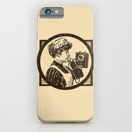 Lady at phone. iPhone Case