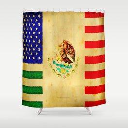 MEXICAN AMERICAN FLAG - 017 Shower Curtain
