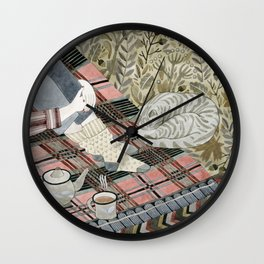 Autumn picnic with my cat Wall Clock