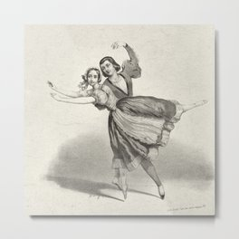 The Dancers, young man and woman, graphite, black white Metal Print