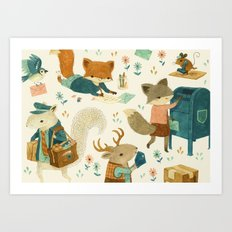 Critter Post Art Print