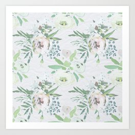 Blush pink white green watercolor modern floral berries pattern Art Print