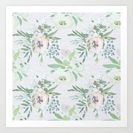 Blush pink white green watercolor modern floral berries pattern Art Print