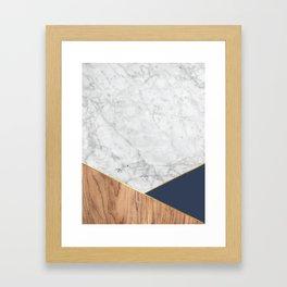 White Marble - Wood & Navy #599 Framed Art Print