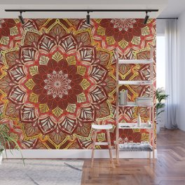 Boho Mandala in Dark Red and Gold Wall Mural
