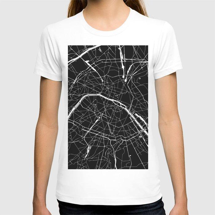 Paris France Minimal Street Map - Black on White T-shirt