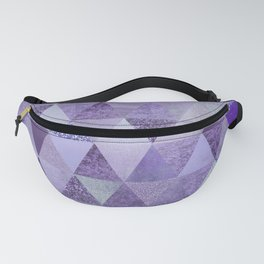 Glamorous Purple Faux Glitter And Foil Triangles Fanny Pack