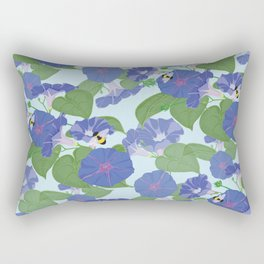 Glory Bee - Vintage Floral Morning Glories and Bumble Bees Rectangular Pillow