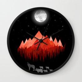 Wolfs road trip Wall Clock