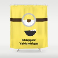 minions Shower Curtains featuring Flirty Minion: Stuart by T•G Art