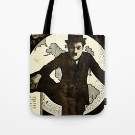 Charlie Chaplin Covers the World Tote Bag